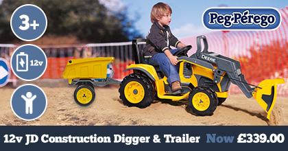 Peg Perego John Deere Construction 12v Digger and Trailer